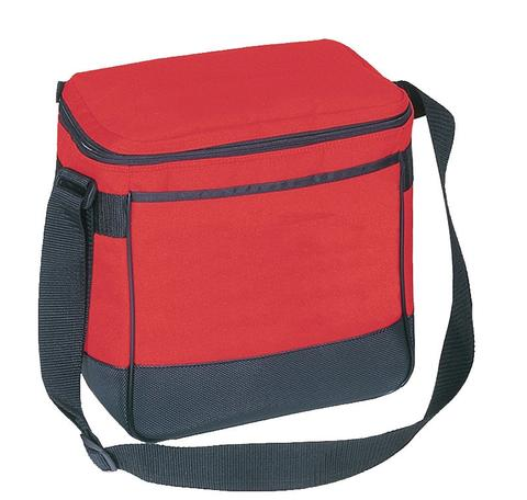 red and black insulated lunch bag