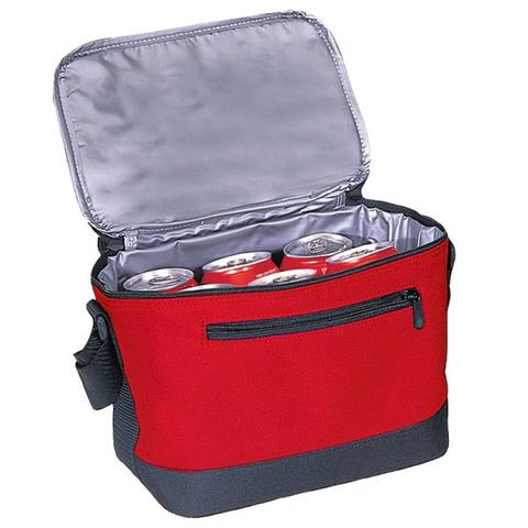 red polyester lunch bag