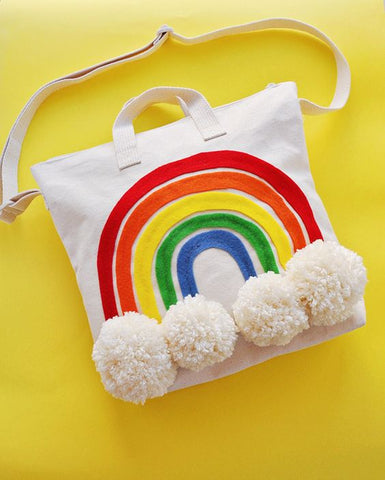 diy rainbow tote bag