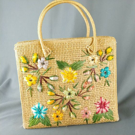 straw embroidered tote bag with flowers