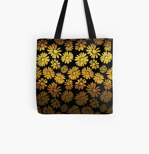 black tote bag with golden flowers
