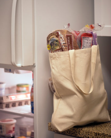 groceries tote bag near fridge
