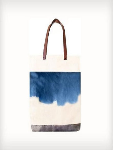white tote bag with painted print