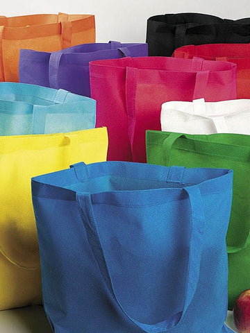 assortment of colorful polypropylene tote bags