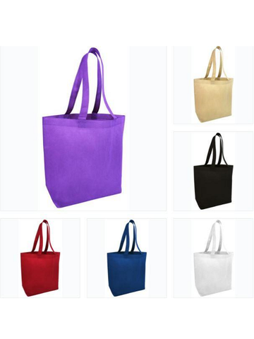 assortment of colorful tote bags with bottom gusset