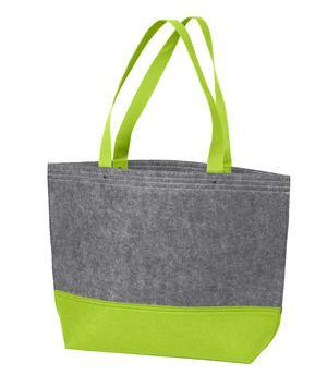 lime green felt day to day tote bag