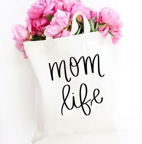 mom life canvas tote bag