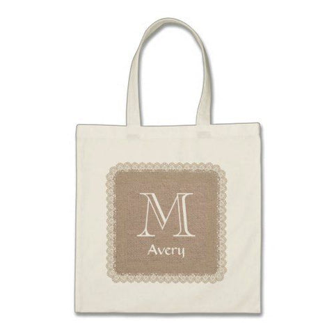 monogrammed burlap tote bag featuring an initial and a name on brown background