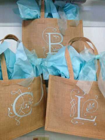 monogrammed burlap totes with turquoise filling