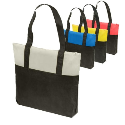 assortment of two toned tote bags