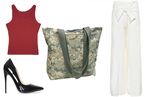 outfit with white pants, red top, and camo tote bag