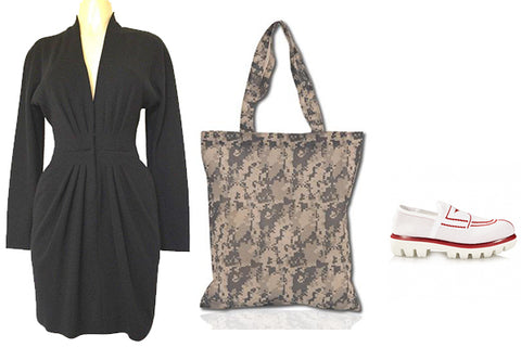 outfit with black dress and camo tote bag