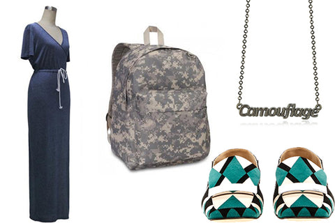outfit with sport dress and camo backpack
