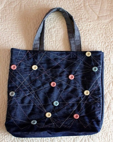 denim tote bag with buttons