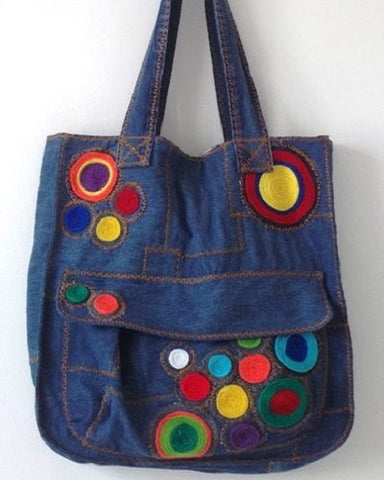 denim tote bag with accessories