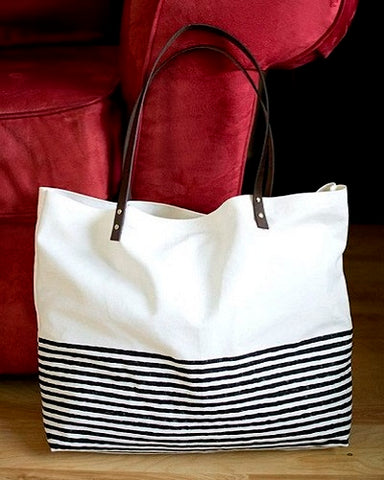 canvas tote bag with thin black stripes