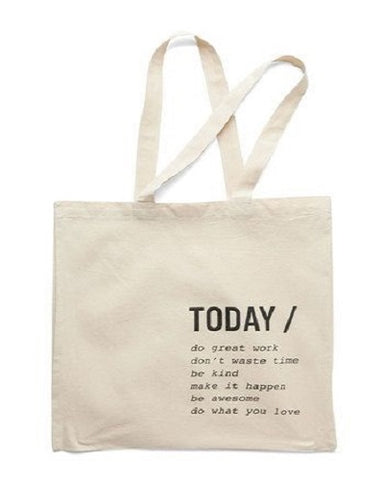 plain tote bag with message print