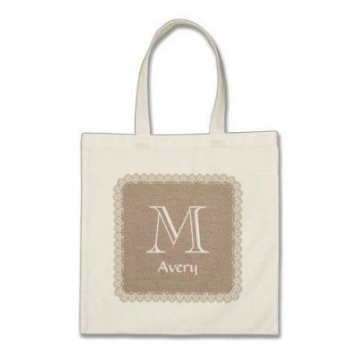 plain tote bag with brown monogram
