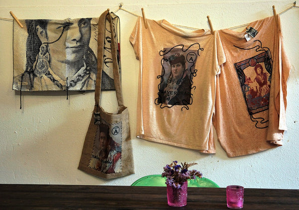 printed cotton tote bag and clothes