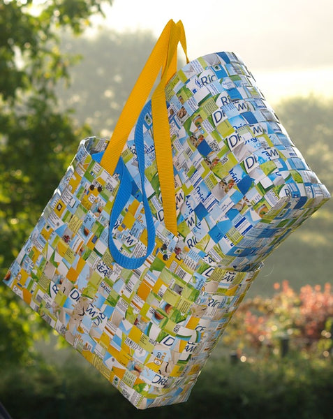recycled tote bags in nature