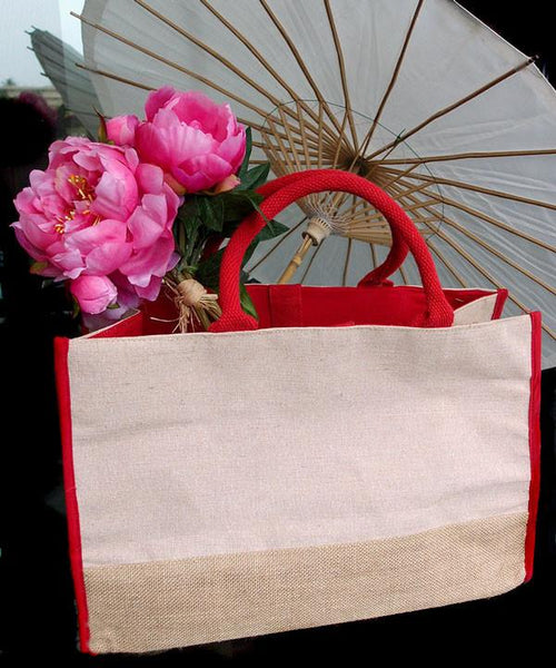 red and plain jute tote bag with flowers