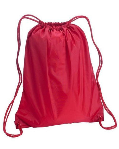 red polyester large cinch backpack