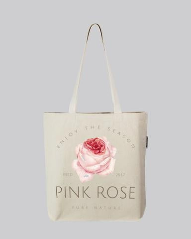 branding tote bag with pink rose