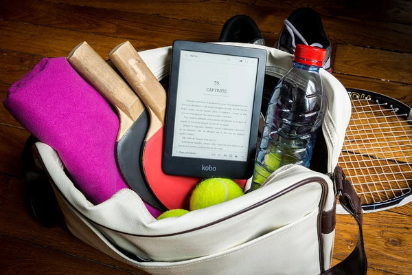 sports bag with ping pong set and reading tablet