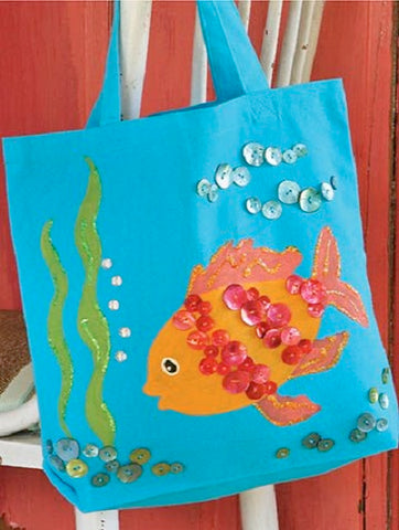 blue tote bag with fish