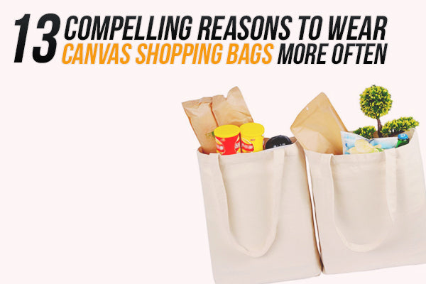 canvas shopping bags with groceries