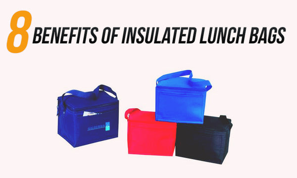 assortment of insulated lunch bags in multiple colors