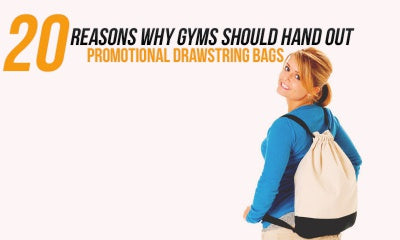 reasons why gyms should hand out drawstring bags written on picture of woman carrying a drawstring bag