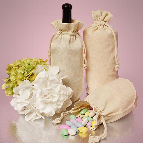 Single Bottle Natural Cotton Muslin Wine Bags with Drawstrings Closure - WB2653