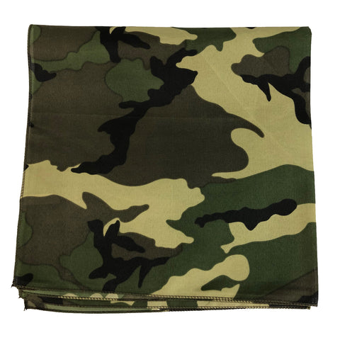 120 ct Woodland Camouflage Pattern Cotton Bandanas - By Dozen
