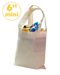 "6"" MINI Cotton Tote Bag with Fabric Handles"