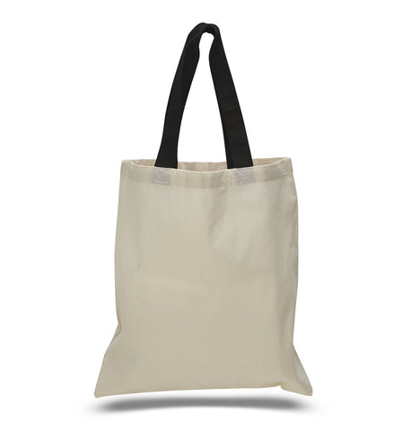 12 ct Wholesale Tote Bags With Color Handles 100% Cotton - By Dozen