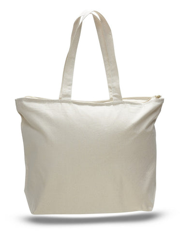 12 ct Heavy Canvas Zipper Tote Bag with Long Handles - By Dozen