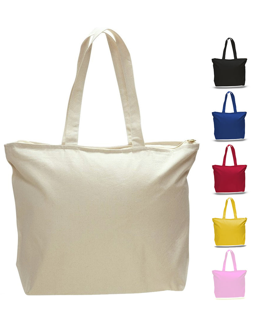 a7bbcd0a66049d Canvas Tote Bags with Zipper, Heavy Canvas Zippered Tote Bag Long ...