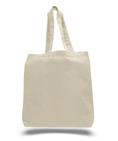 240 ct Economical 100% Cotton Tote Bags with Bottom Gusset - By Case