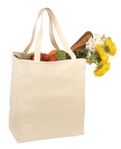 12 ct Over-the-Shoulder Cotton Twill Grocery Tote Bag - By Dozen