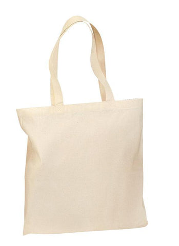 12 ct 100% Cotton Value Tote Bag with Contrast Handles - By Dozen