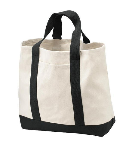 Heavy Canvas Twill Two Tone Shopping Tote Bag - TF285