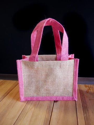 6 ct Gusseted Jute Tote Bags with Colored Trim and Handles - Pack of 6