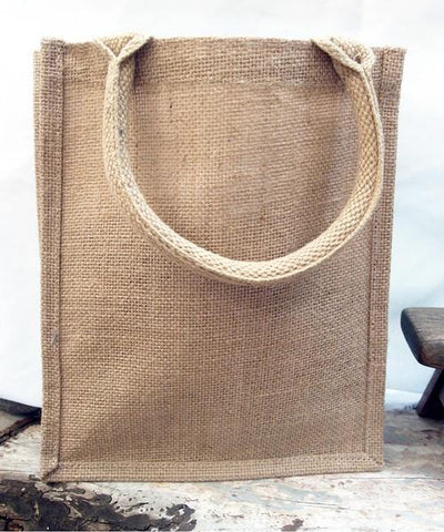 48 ct Small Burlap Bags / Jute Book Bag with Full Gusset - By Case