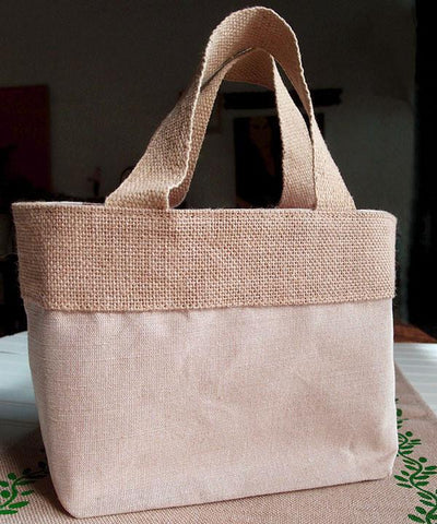 Fancy Burlap Bags - JuCo Tote Bags  (Jute & Cotton Blend) - TJ893