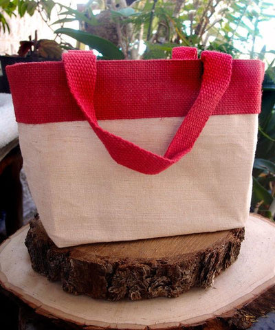 Small Fancy Burlap Bags - JuCo Tote Bags  (Jute & Cotton Blend) - TJ893