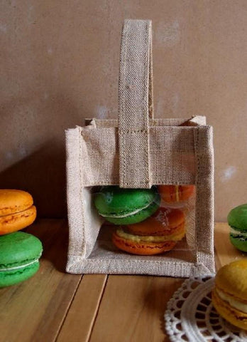 Mini Rustic Wedding Favor Burlap Tote Bag with Clear Window TJ905