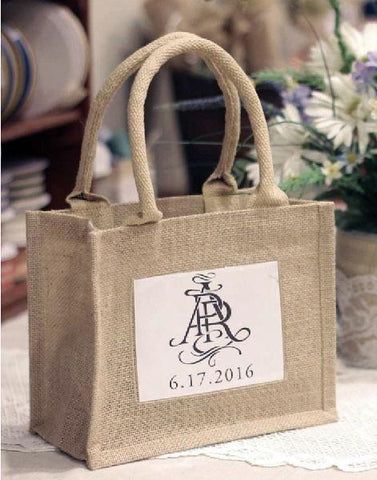 Rustic Wedding Favor Burlap Bags / Promotional Jute Totes  TJ907