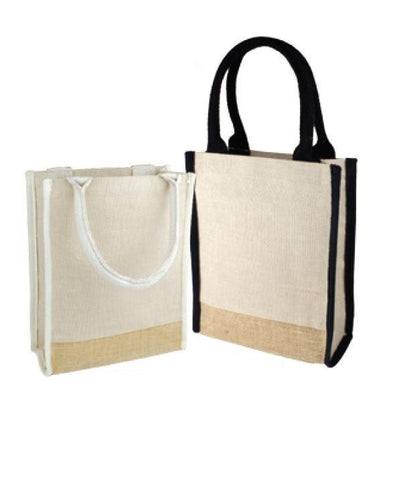 48 ct Small Jute Blend Tote Bags with Full Gusset and Burlap Accents - By Case