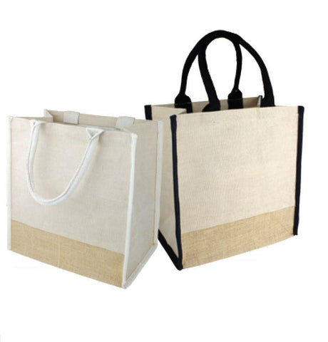 48 ct Fancy Jute Blend Tote Bags Burlap Carry-All Totes with Full Gusset - By Case